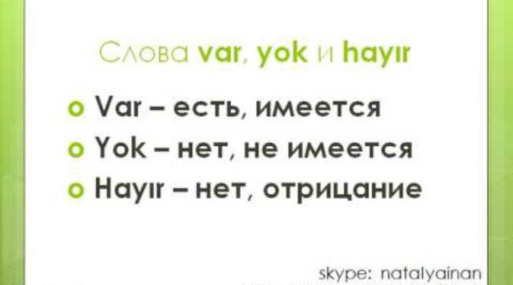 Турецкий язык Урок 4 Вопросительная частица mı Слова VAR, YOK, HAYIR